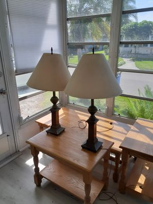 Antique Brass matching lamps with shades for Sale in Bradenton, FL