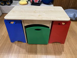 Kids table with 2 chairs and storage space for Sale in Chantilly, VA