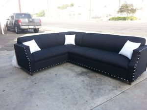 NEW 7X9FT DOMINO BLACK FABRIC SECTIONAL COUCHES for Sale in Yucca Valley, CA