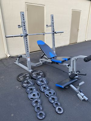 Weight set, barbell , Heavy duty squat rack, bench press for Sale in Kent, WA