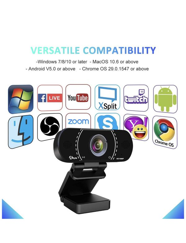 HD Pro Webcam 1080P with Microphone, Laptop Desktop PC Web Computer Camera for MAC Video Calling Recording Video Conference, 110 Degree Wide Angle,US