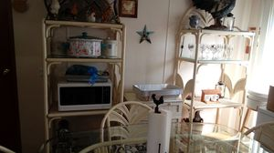 Wicker glass kitchen table, chairs and shelving for Sale in Paducah, KY