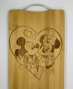 Mickey and minnie love laser engraved bamboo high quality cuttingboard pop gift for Sale in Los Angeles,  CA