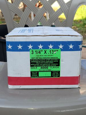 Brand new box gun nails American Fasteners 3 1/4 .131 for Sale in San Marcos, CA