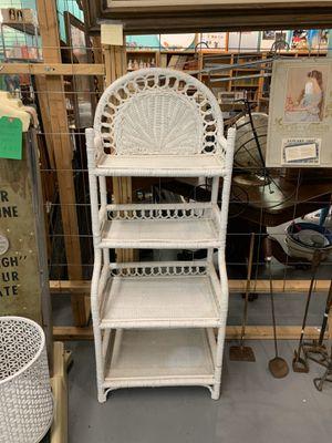 Small Vintage White Wicker Bookshelf for Sale in Mesa, AZ