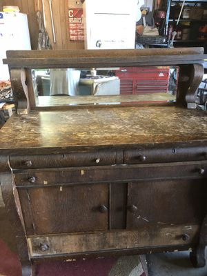Antique tiger wood buffet with mirror for Sale in Corning, OH