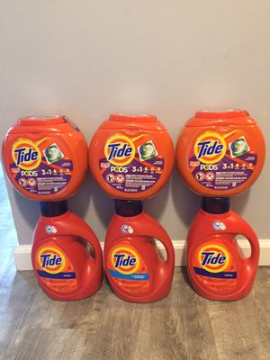 $60 tide bundle 3containers pods it's 42counts each 3liquids it's 100oz each pick up Gahanna for Sale in Gahanna, OH