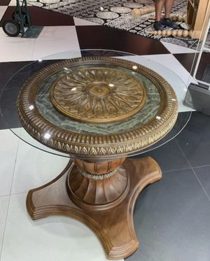 Antique table with glass top for Sale in Coral Springs, FL
