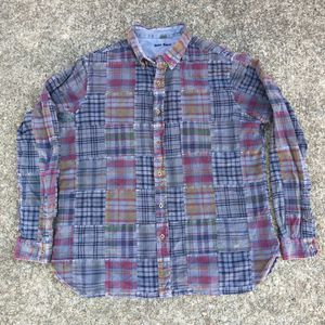 VINTAGE PLAID PATCHWORK CASUAL BUTTON DOWN SHIRT for Sale in Raleigh, NC