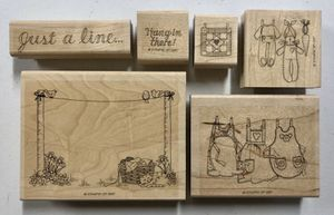 """Retired 1997 Stampin' Up! Wood Mounted Rubber """"Just A Line"""" 6 Piece Stamp Set for Sale in Rives Junction, MI"""