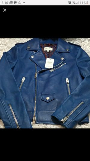 Coach blue leather jacket. Amazing quality. New with tags. for Sale in Klamath Falls, OR