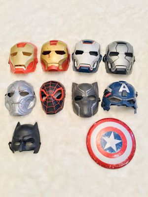 Iron Man, War Machine, Ultron, Miles Morales (Spider-Man), Black Panther, Captain America + Shield and Batman Mask for Sale in Lake Tapps, WA