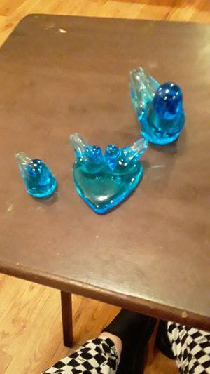 Glass blue birds set for Sale in Atlanta, GA