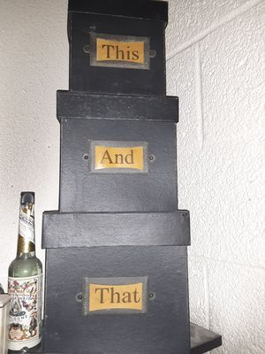 "3 Vintage ""This And That"" stackable decorative storage boxes and lids- In great condition for Sale in Phoenix, AZ"