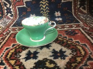 Aynsley England Bone China Tea Cup & Saucer Floral Green Gold Trim for Sale in Whittier, CA
