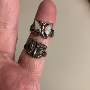 Sterling silver rings butterfly sz 9 jewelry marcasite mother pearl vintage 925 $25 apiece $40 both for Sale in Nashville, TN