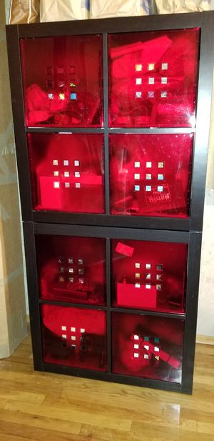 Two 4 Opening Shelving Units with Red Organizing Boxes for Sale in Bellevue, WA