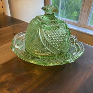 Green Depression Glass Butter Dish for Sale in Zephyrhills, FL