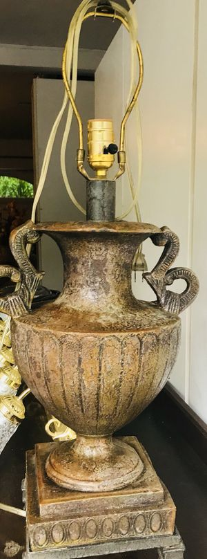 Matching antique gold metal lamps with silk shades for Sale in Mableton, GA