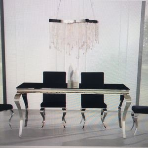 SALE $1150 DINING ROOM SET BLACK CHROME TABLE + 4 CHAIRS for Sale in Chicago, IL