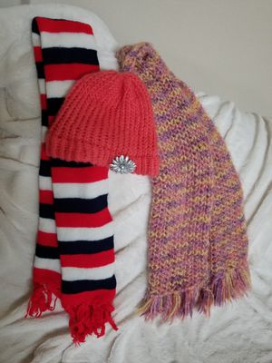 2 scarves, 1 hat with flower, pink, red, white & blue, price for all for Sale in McKinney, TX