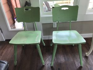 Antique solid wood school house chairs for Sale in Portland, OR