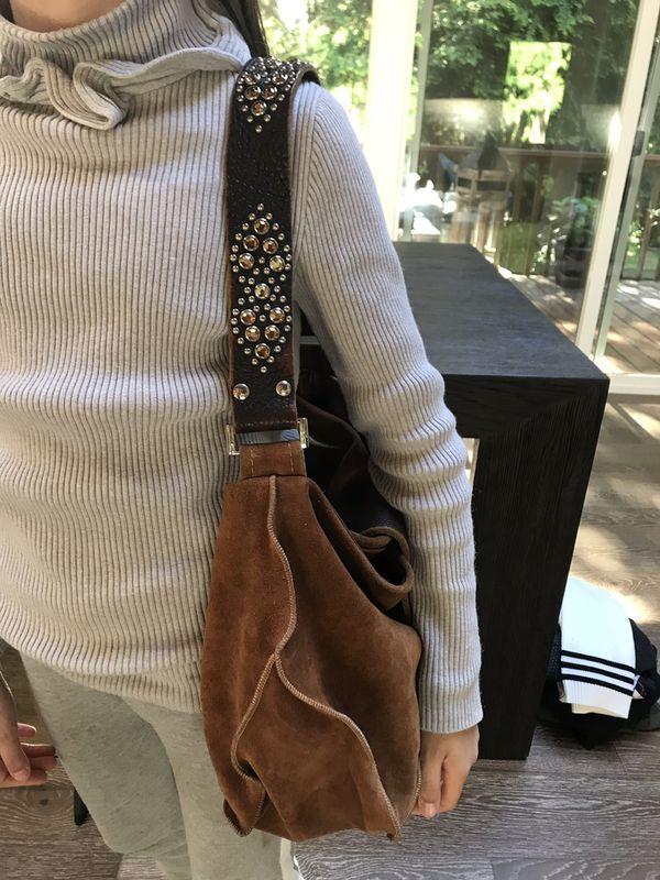 Tylie Malibu hobo bag purse, suede rusty brown color