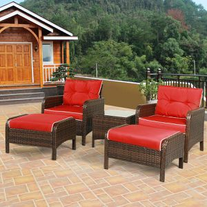 5 Pcs Outdoor Patio Rattan Wicker Furniture Set with Sofa Ottoman Red Cushioned For Garden Yard Porch for Sale in Agua Dulce, CA