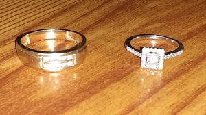 Womens white gold 14 k with diamonds size 7 and mens 10k gold ring with 10 diamonds in it for Sale in Tacoma, WA