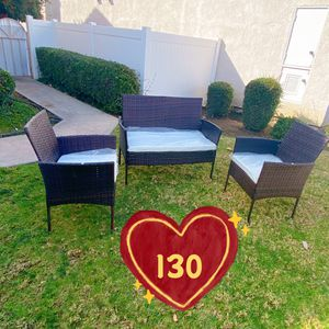 Brand new! Assembled! Firm on price! 3 Pieces rattan wicker patio furniture set 2 single chair and 1 love seat (dark brown ) for Sale in Hacienda Heights, CA