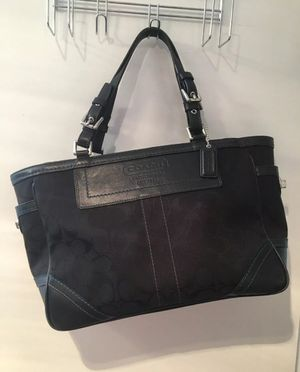Coach Handbag Signature Canvas Leather Shoulder Purse Tote Bag #F05M-8K49 Black for Sale in Arlington, VA