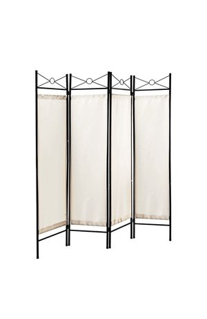 Legacy Decor 4 Panels Room Dividers Privacy Screen Home Office Fabric Metal White Color for Sale in Elk Grove Village, IL