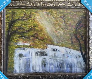 Forest Waterfall Acrylic Painting-Framed for Sale in Tijuana, MX
