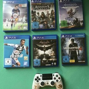 SONY PLAYSTATION PS4 PRO 1TB GLACIER WHITE CONSOLE WITH GAMES, COMPLETE CORDS, VR AND GOOD CONTROLLER for Sale in Yukon, OK