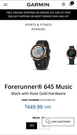 Forerunner 645 Garmin MUSIC for Sale in Cypress, TX