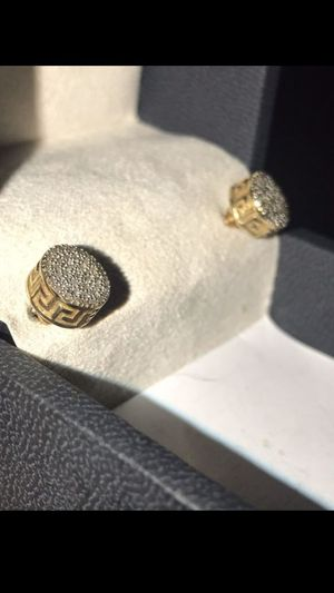 Versace Gold and Diamond Earrings. 18k solid gold with VVS1 Diamonds for Sale in Webster, TX