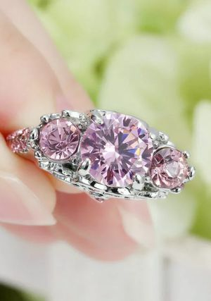 Brand new womens Stamped 925 Solid Sterling Silver 5.80 CT genuine Pink Topaz Engagement Wedding Promise or Everyday ring for Sale in New Port Richey, FL