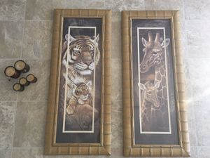 Ruane Manning - Giraffe Tiger Artwork Home Wall Decor & Jungle Candles for Sale in Aumsville, OR