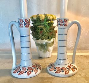 "HAND PAINTED NORWEGIAN (DROBAK) POTTERY CANDLESTICKS 7.5"" for Sale in Pittsburgh, PA"