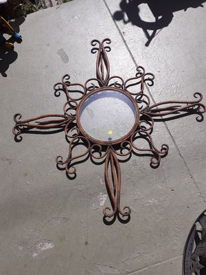 Really large rustic metal wall piece with glass inset for Sale in Dunedin, FL