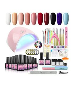 Gel Nail Polish Kit with 36w LED Nail Lamp 10 Colors Soak Off Gel Nail wit Base and Top Coat Manicure Tools Set for Home DIY Nail Salon Use for Sale in Long Beach,  CA