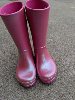 Crocs... Pink iridescent rain boots...size 13 kids for Sale in Seagoville, TX