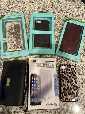 Group Bundle! 5 Kate Spade iPhone 7/8 cases + glass screen protectors for Sale in Lexington, KY