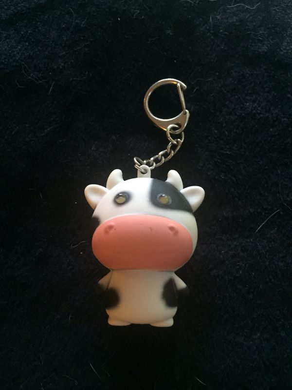 Cute Cow Safety Alert Keychain. Noise and lght