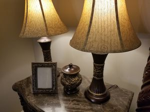 2 Lamps, picture frame, decorative storage container for Sale in Lexington, KY