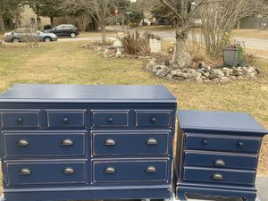 "Admiral navy blue bedroom set 48"" long dresser & night stand for Sale in Stafford Township, NJ"