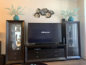 3 piece Expresso wood entertainment center (like new condition) for Sale in Boca Raton, FL