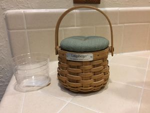 Longaberger basket, Lid and plastic protector for Sale in El Paso, TX