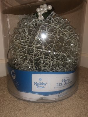Metal frosted snow sphere indoor or outdoor lights up LED lights AA Battery operates for Sale in Ashburn, VA