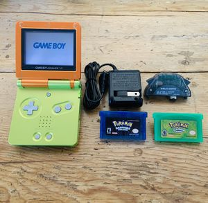 Gameboy Advance SP w/ Pokémon Leaf Green & Sapphire + Wall Charger for Sale in Long Beach, CA